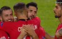 UEFA Nations League : Emre Ababa celebrates