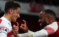 Arsenal Pierre-Emerick Aubameyang and Mesut Ozil against Leicester