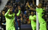 Messi Celebrates Hat Trick against Levente