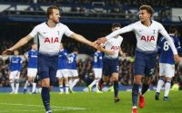 Tottenham Hotspur Harry Kane and Dele Alli celebrate Goals Against Everton