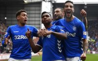 Alfredo Morelos Rangers Celebrates with teammates