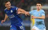Phil Foden Manchester City and Andy King Leicester City