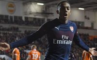 Joseph Willock Arsenal FC Celebrates against Blackpool