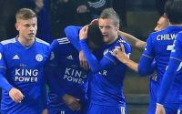 Leicester City Demarai Gray and Jamie Vardy