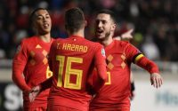 Eden Hazard Belgium Celebrates With Teammates