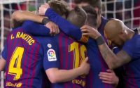 FC Barcelona team Celebrates with Clement Lenglet