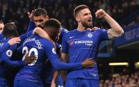 Olivier Giroud Celebrates with Chelsea FC teammates