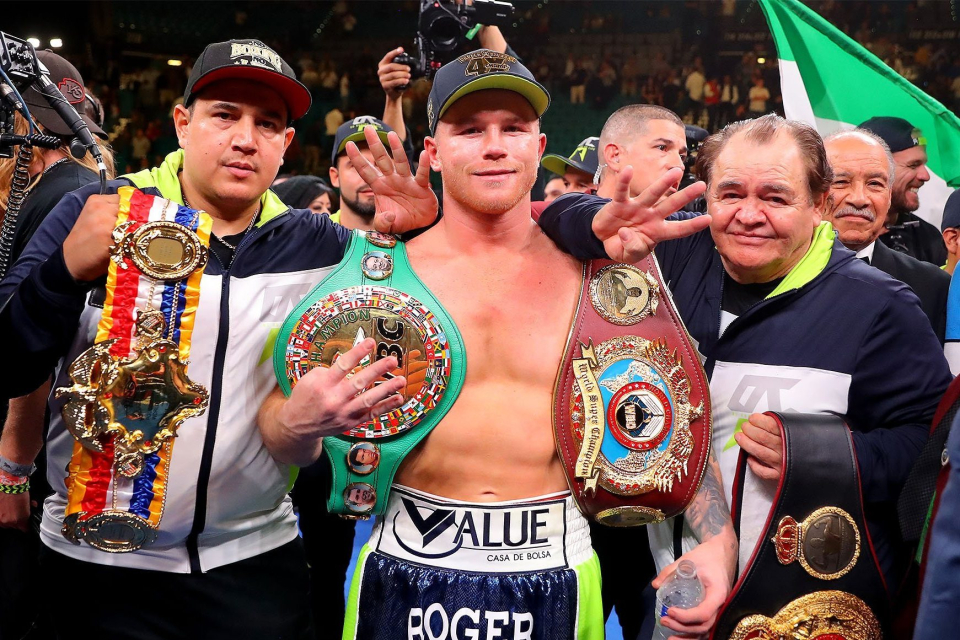 Canelo Alvarez Celebrates With Team