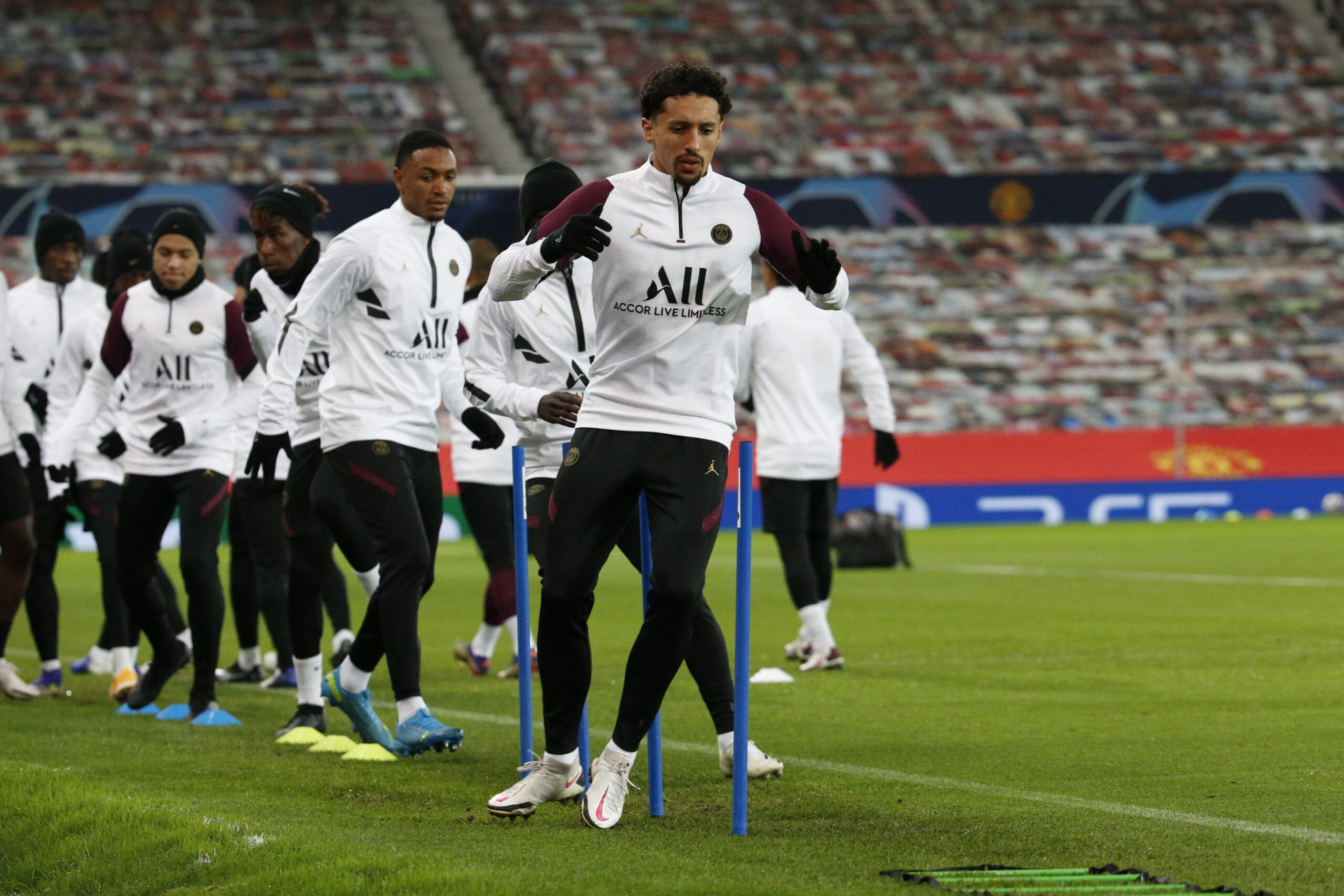 PSG Team Training At Old Trafford Ahead Of Manchester United Game
