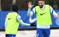 Olivier Giroud Chelsea FC Training For Everton Clash