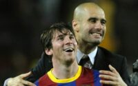 Lionel Messi Pep Guardiola Celebrates FC Barcelona