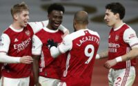 Bukayo Saka Celebrates With Lacazette and teammates