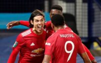 Manchester United Edinson Cavani, Anthony Martial Celebrate Goal