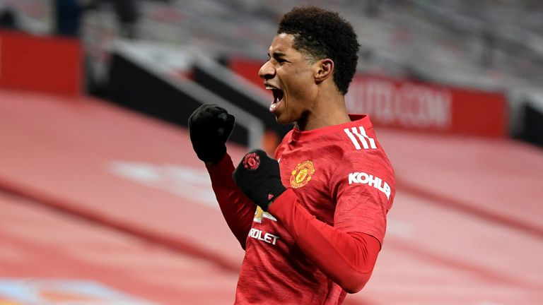 Marcus Rashford Manchester United Celebrates Goal Vs Wolves