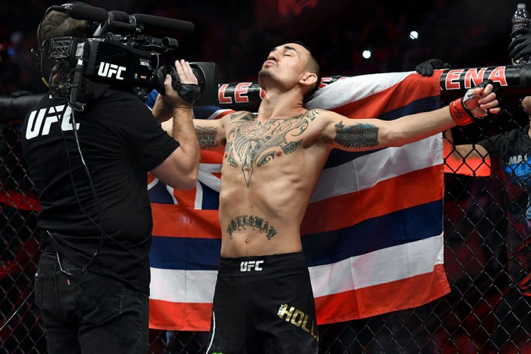 Max Holloway Celebrates UFC 218 Victory