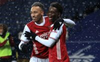 Aubameyang Saka Celebrates West Brom Vs Arsenal