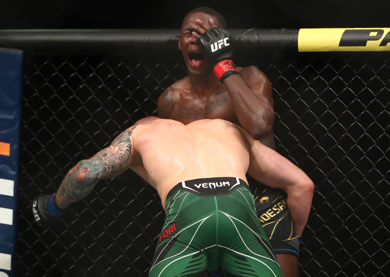 Ufc263 Israel Adesanya reacts after Marvin Vettori Punch