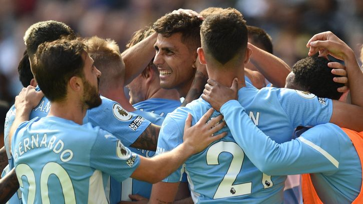 Rodri Celebrates with Manchester City teammates after goal against Arsenal FC on Premier League Match Day 3