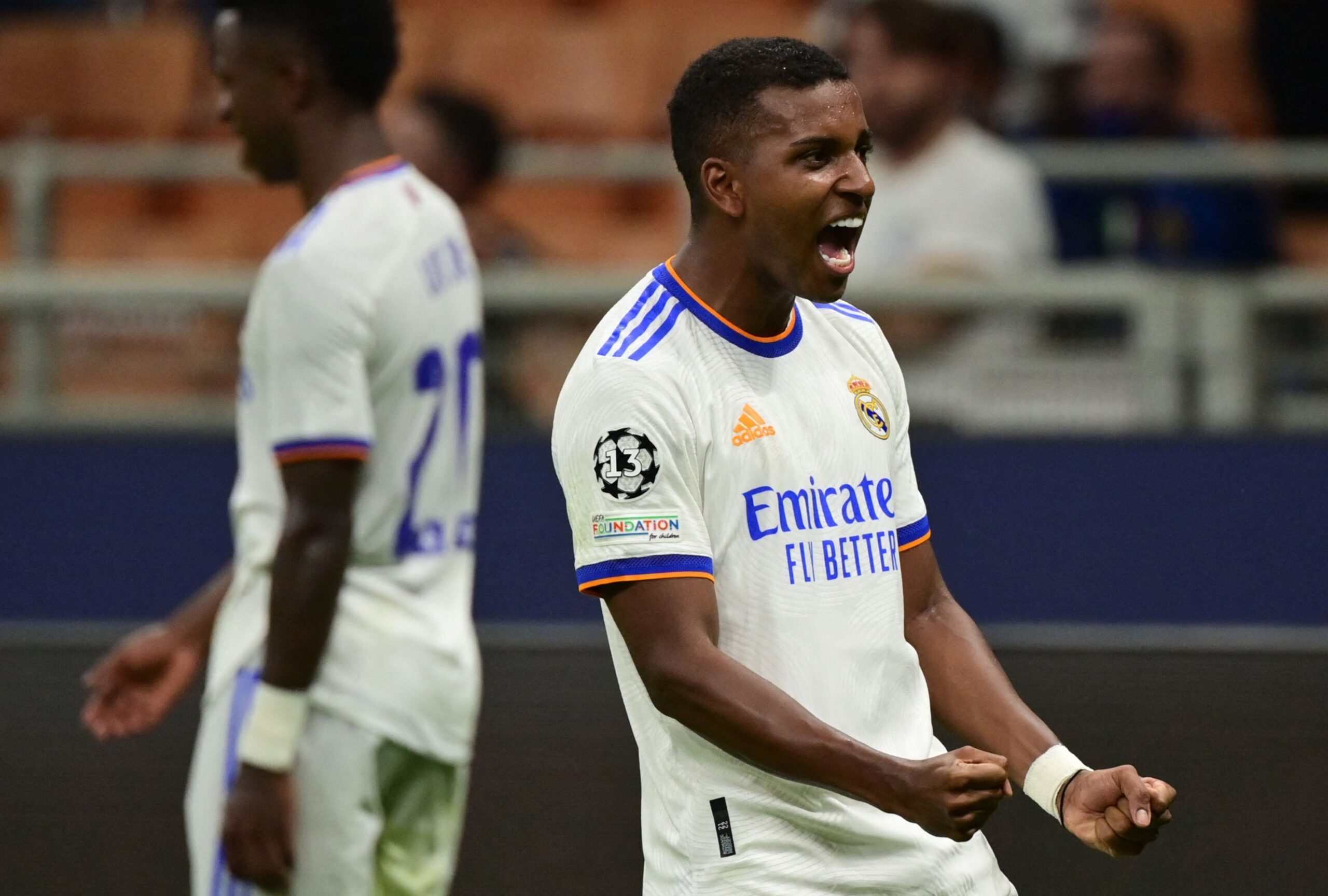 Real Madrid Rodrygo celebrates Goal against Inter Milan In  The UEFA Champions League