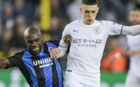 Phil Foden Manchester City Wrestles With Club Brugge Defender